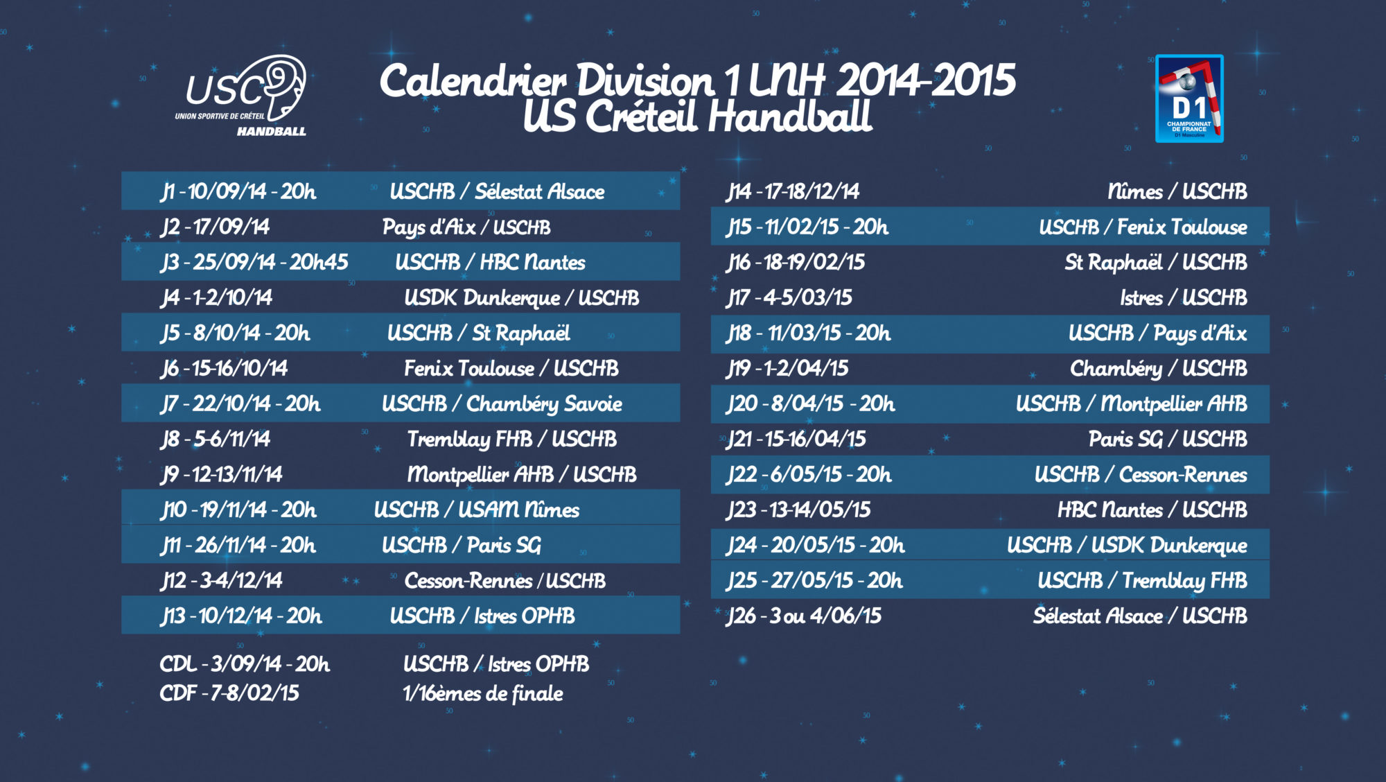 Handball Calendrier.Calendrier Uschb Fr
